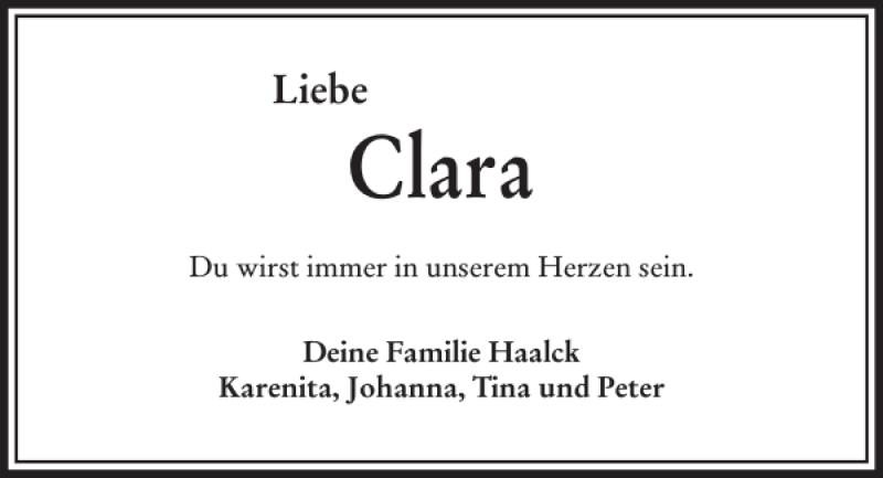 Traueranzeige für Clara Maria Paulus vom 25.11.2017 aus Kieler Nachrichten / Segeberger Zeitung