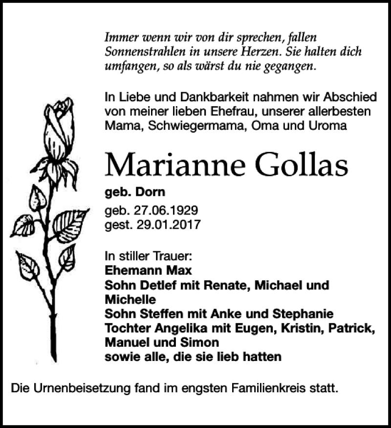 Traueranzeigen Von Marianne Gollas Trauer Anzeigen De
