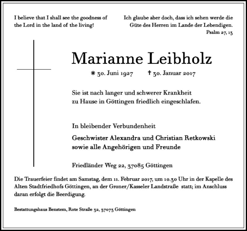 Traueranzeige für Marianne Leibholz vom 04.02.2017 aus Göttinger Tageblatt