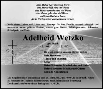 Traueranzeige für Adelheid Wetzko vom 23.03.2017 aus Eichsfelder Tageblatt