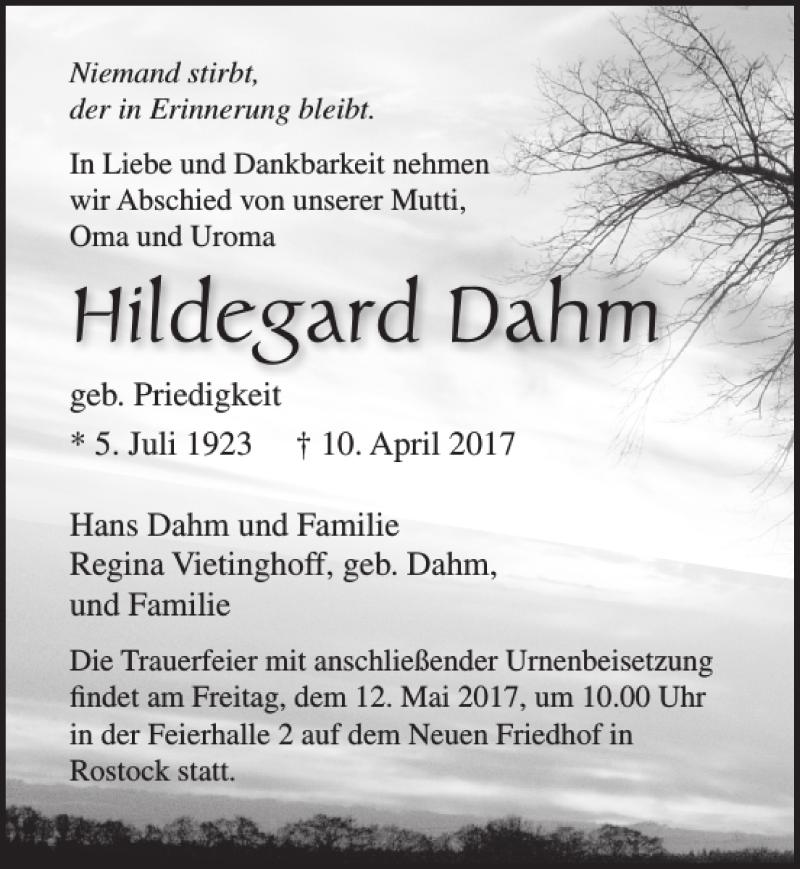 Traueranzeige für Hildegard Dahm vom 22.04.2017 aus Ostsee-Zeitung