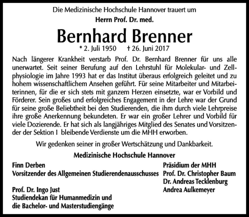 Traueranzeige für Bernhard Brenner vom 01.07.2017 aus HAZ/NP