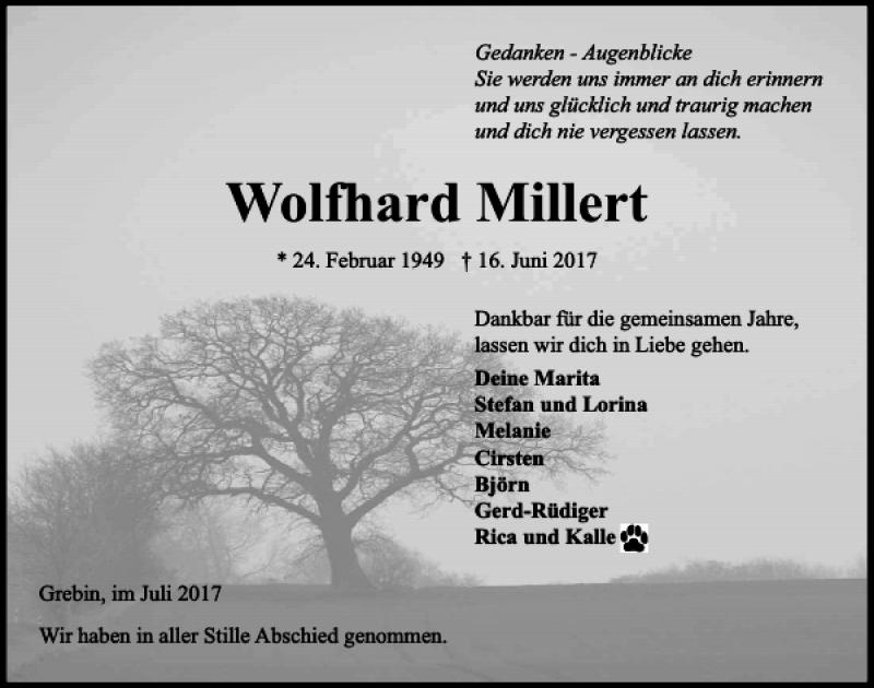 Traueranzeige für Wolfhard Millert vom 08.07.2017 aus Kieler Nachrichten / Segeberger Zeitung