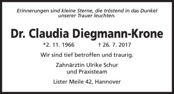 Traueranzeige für Claudia Diegmann-Krone vom 19.08.2017 aus HAZ/NP