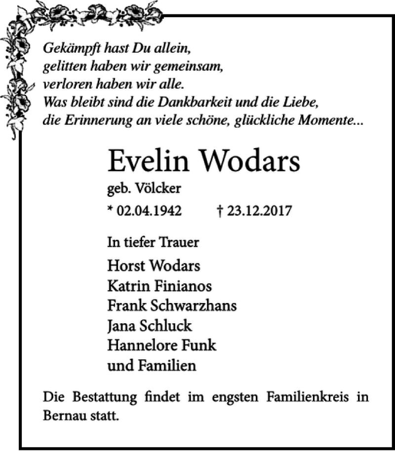 Traueranzeige für Evelin Wodars vom 06.01.2018 aus Ostsee-Zeitung