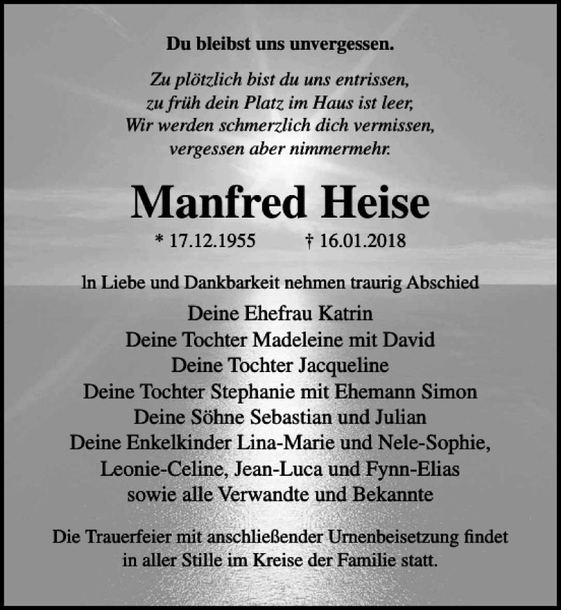 Traueranzeige für Manfred Heise vom 20.01.2018 aus Ostsee-Zeitung