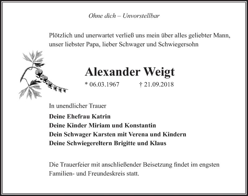 Traueranzeige für Alexander Weigt vom 29.09.2018 aus Märkischen Allgemeine Zeitung