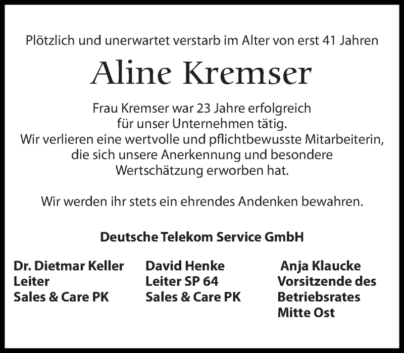 Traueranzeige für Aline Kremser vom 27.10.2018 aus Leipziger Volkszeitung