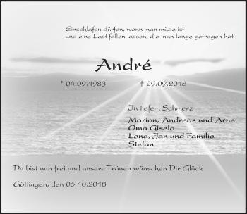 Traueranzeige für Andre  vom 06.10.2018 aus Göttinger Tageblatt