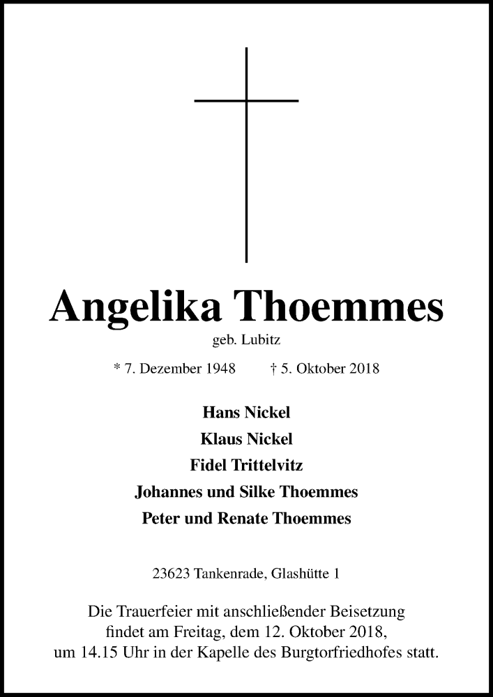 Traueranzeige für Angelika Thoemmes vom 10.10.2018 aus Lübecker Nachrichten