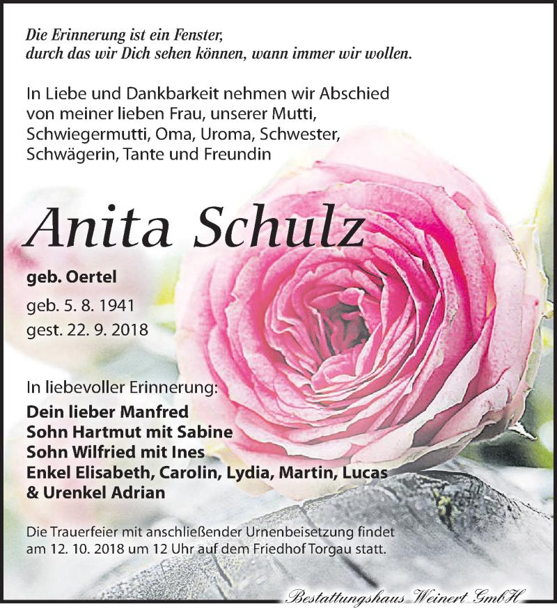 Traueranzeige für Anita Schulz vom 06.10.2018 aus Torgauer Zeitung