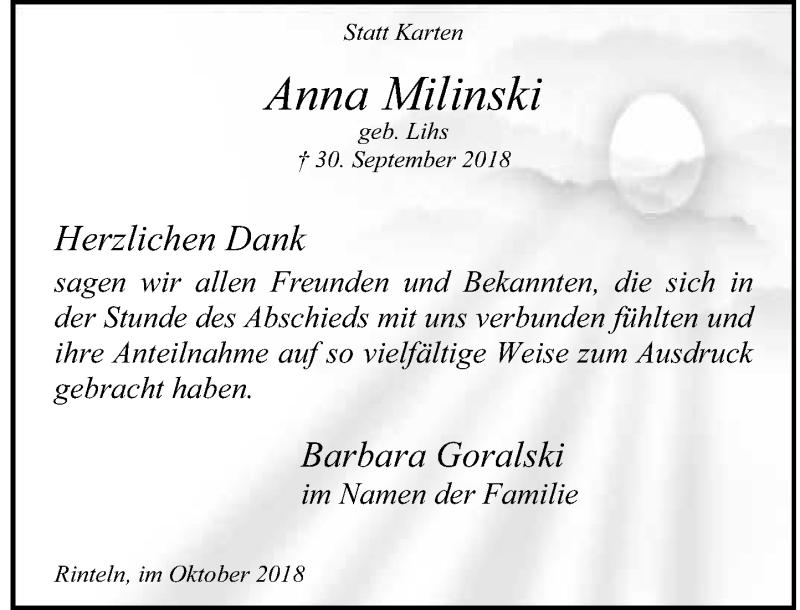 Traueranzeige für Anna Milinski vom 20.10.2018 aus Schaumburger Nachrichten