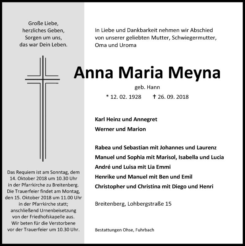 Traueranzeige von  Anna Maria Meyna