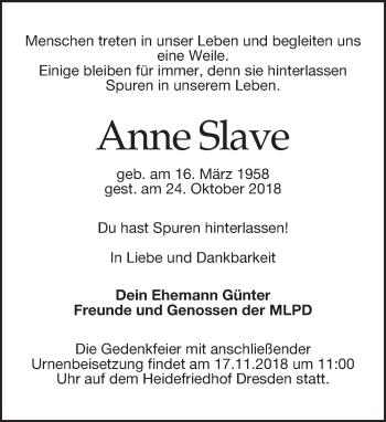 Traueranzeige für Anne Slave vom 27.10.2018 aus Dresdner Neue Nachrichten