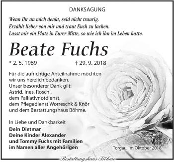 Traueranzeige für Beate Fuchs vom 20.10.2018 aus Torgauer Zeitung