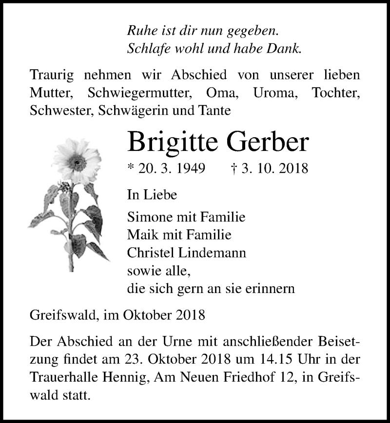 Traueranzeige für Brigitte Gerber vom 06.10.2018 aus Ostsee-Zeitung GmbH