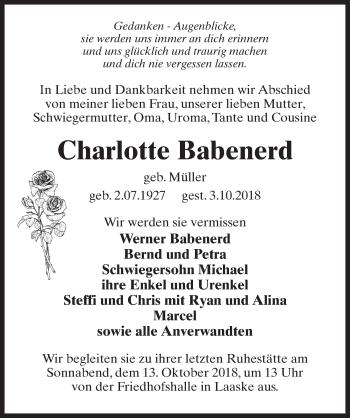 Traueranzeige für Charlotte Babenerd vom 06.10.2018 aus Märkischen Allgemeine Zeitung
