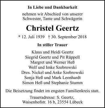 Traueranzeige für Christel Geertz vom 07.10.2018 aus Lübecker Nachrichten