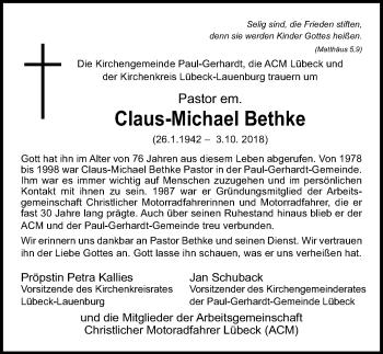 Traueranzeige für Claus-Michael Bethke vom 14.10.2018 aus Lübecker Nachrichten
