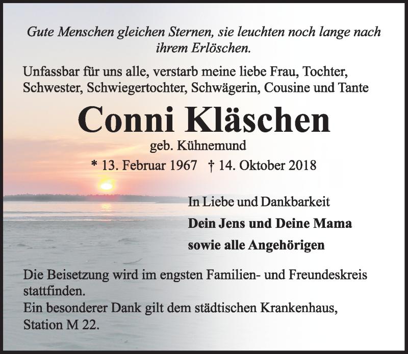 Traueranzeige für Conni Kläschen vom 20.10.2018 aus Kieler Nachrichten