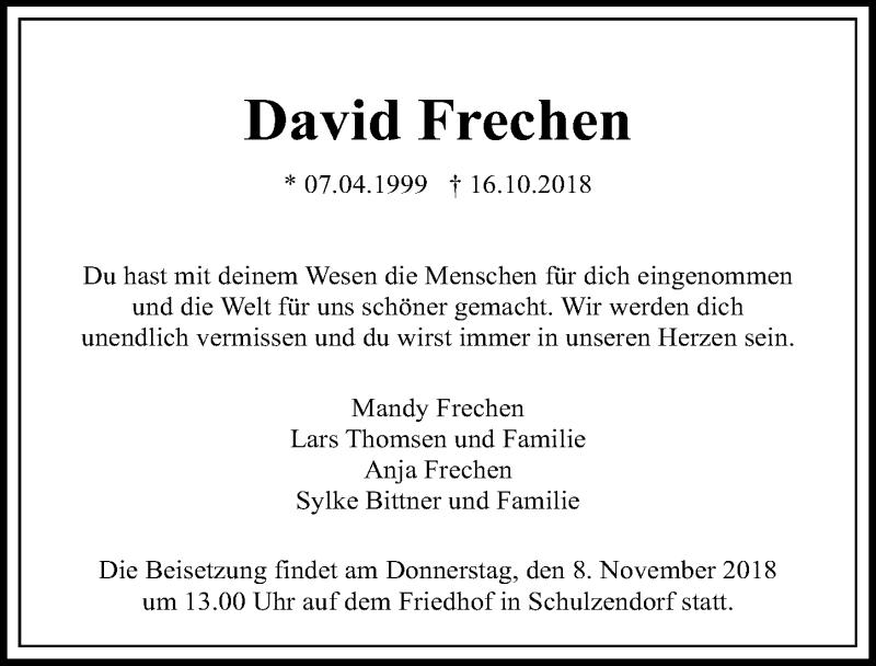Traueranzeige von  David Frechen