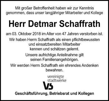 Traueranzeige für Detmar Schaffrath vom 11.10.2018 aus Lübecker Nachrichten