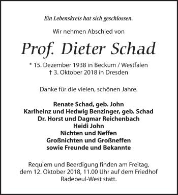 Traueranzeige für Dieter Schad vom 09.10.2018 aus Dresdner Neue Nachrichten