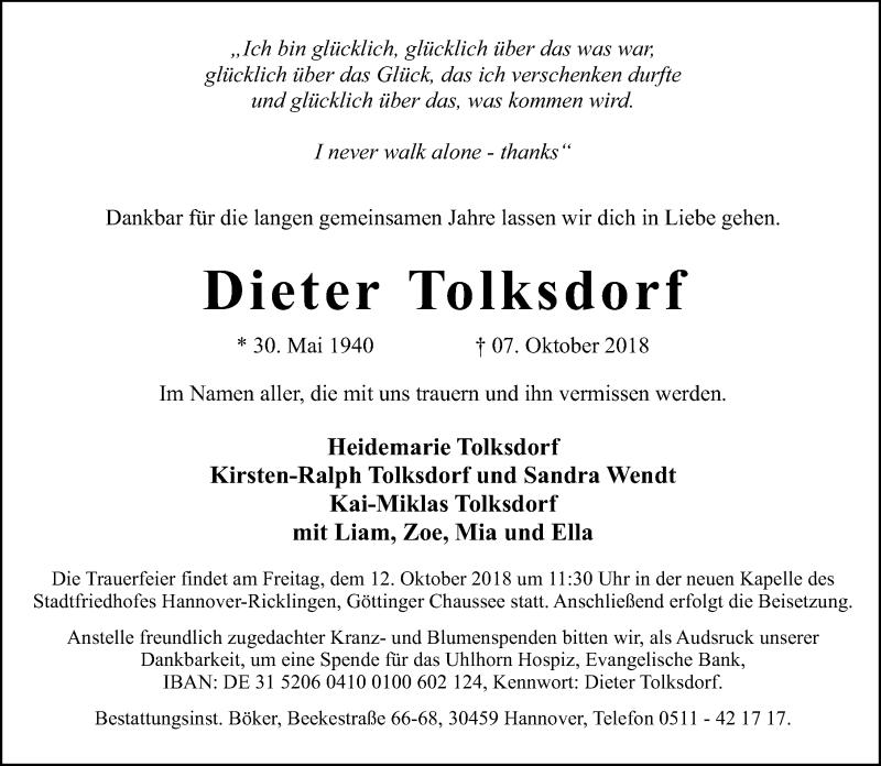 Traueranzeige für Dieter Tolksdorf vom 10.10.2018 aus Hannoversche Allgemeine Zeitung/Neue Presse