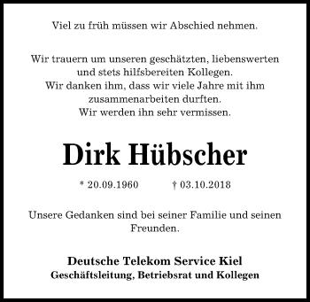 Traueranzeige für Dirk Hübscher vom 09.10.2018 aus Kieler Nachrichten