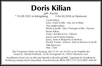 Traueranzeige für Doris Kilian vom 10.10.2018 aus Hannoversche Allgemeine Zeitung/Neue Presse