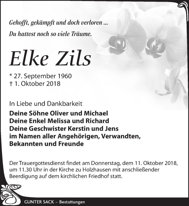 Traueranzeige für Elke Zils vom 06.10.2018 aus Leipziger Volkszeitung