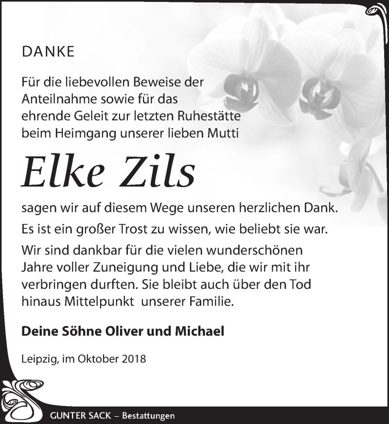 Traueranzeige für Elke Zils vom 20.10.2018 aus Leipziger Volkszeitung