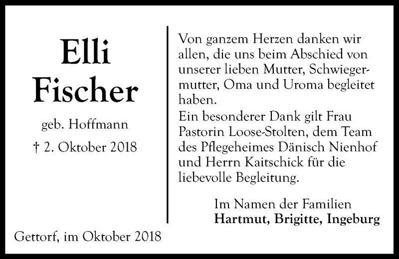 Traueranzeige für Elli Fischer vom 27.10.2018 aus Kieler Nachrichten