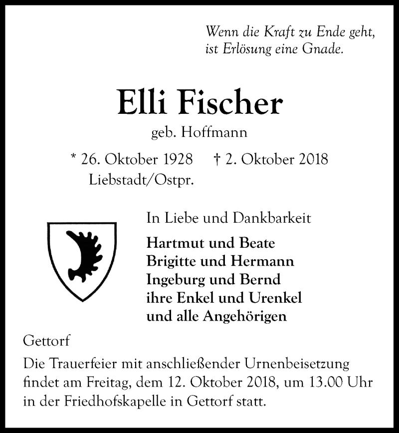 Traueranzeige für Elli Fischer vom 06.10.2018 aus Kieler Nachrichten