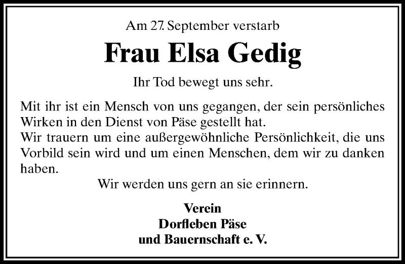 Traueranzeige für Elsa Gedig vom 04.10.2018 aus Aller Zeitung