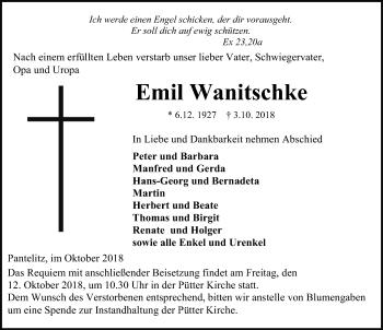Traueranzeige für Emil Wanitschke vom 06.10.2018 aus Ostsee-Zeitung GmbH