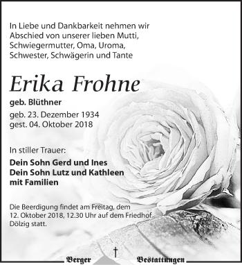 Traueranzeige für Erika Frohne vom 10.10.2018 aus Leipziger Volkszeitung