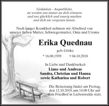 Traueranzeige für Erika Quednau vom 09.10.2018 aus Märkischen Allgemeine Zeitung