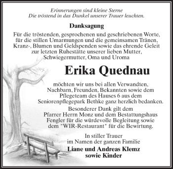 Traueranzeige für Erika Quednau vom 20.10.2018 aus Märkischen Allgemeine Zeitung