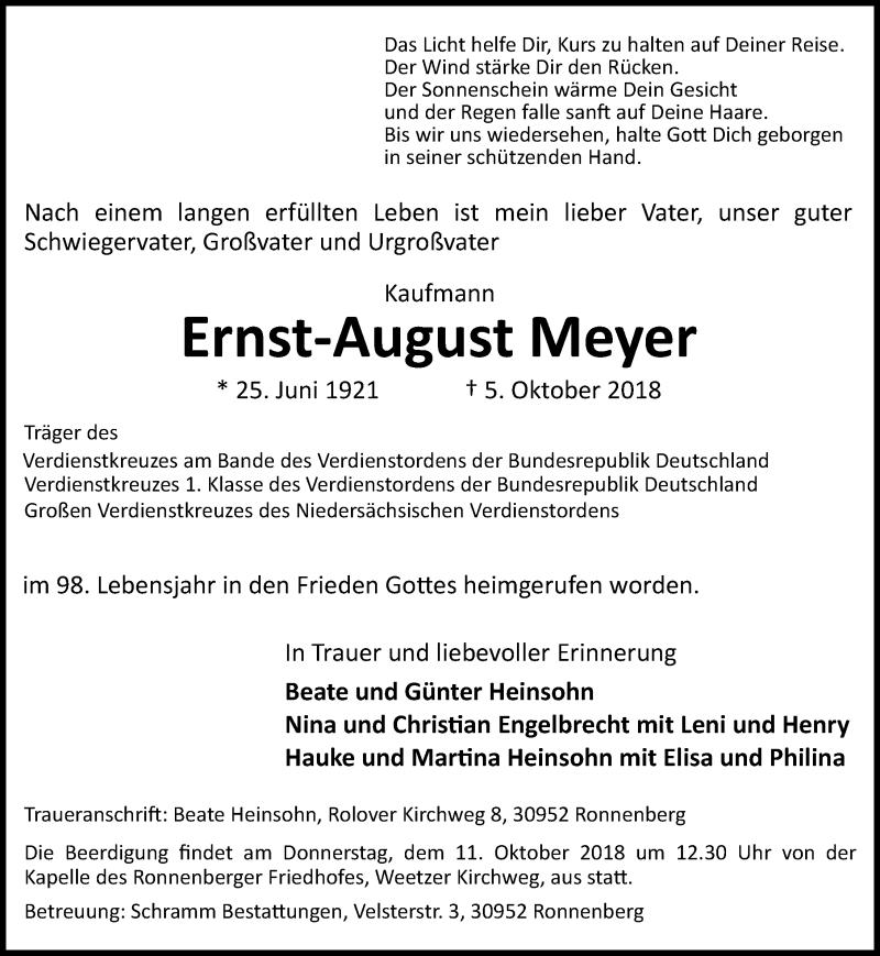 Traueranzeige von  Ernst-August Meyer
