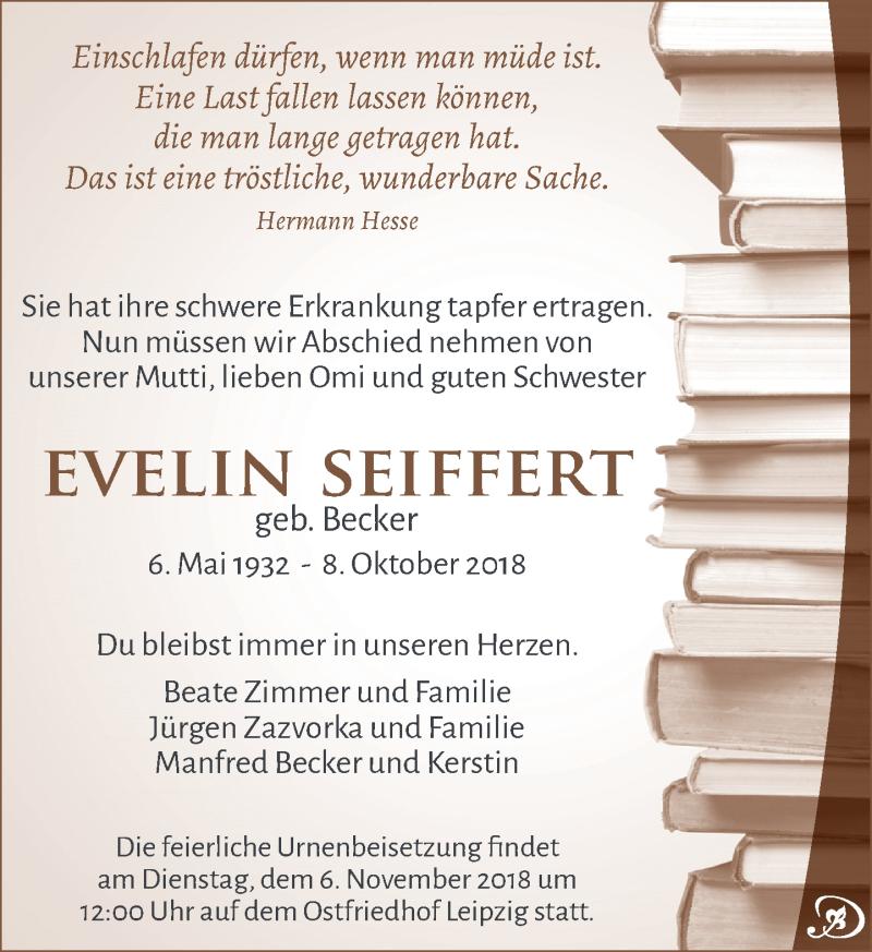 Traueranzeige für Evelin Seiffert vom 27.10.2018 aus Leipziger Volkszeitung