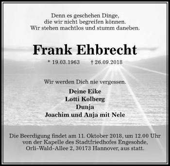 Traueranzeige für Frank Ehbrecht vom 06.10.2018 aus Aller Zeitung