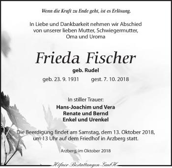 Traueranzeige für Frieda Fischer vom 10.10.2018 aus Torgauer Zeitung