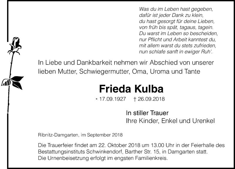 Traueranzeige von  Frieda Kulba