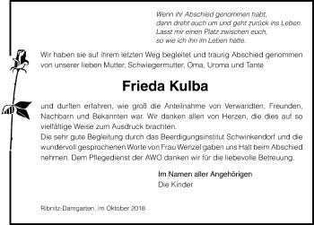 Traueranzeige für Frieda Kulba vom 27.10.2018 aus Ostsee-Zeitung GmbH