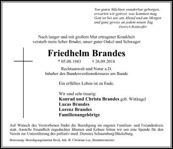 Traueranzeige für Friedhelm Brandes vom 06.10.2018 aus Schaumburger Nachrichten