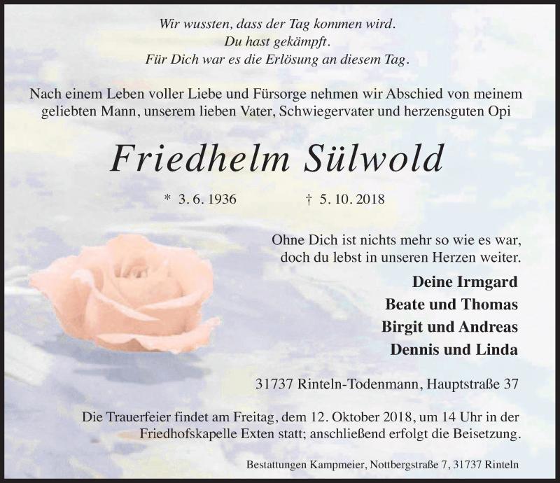 Traueranzeige für Friedhelm Sülwold vom 09.10.2018 aus Schaumburger Nachrichten
