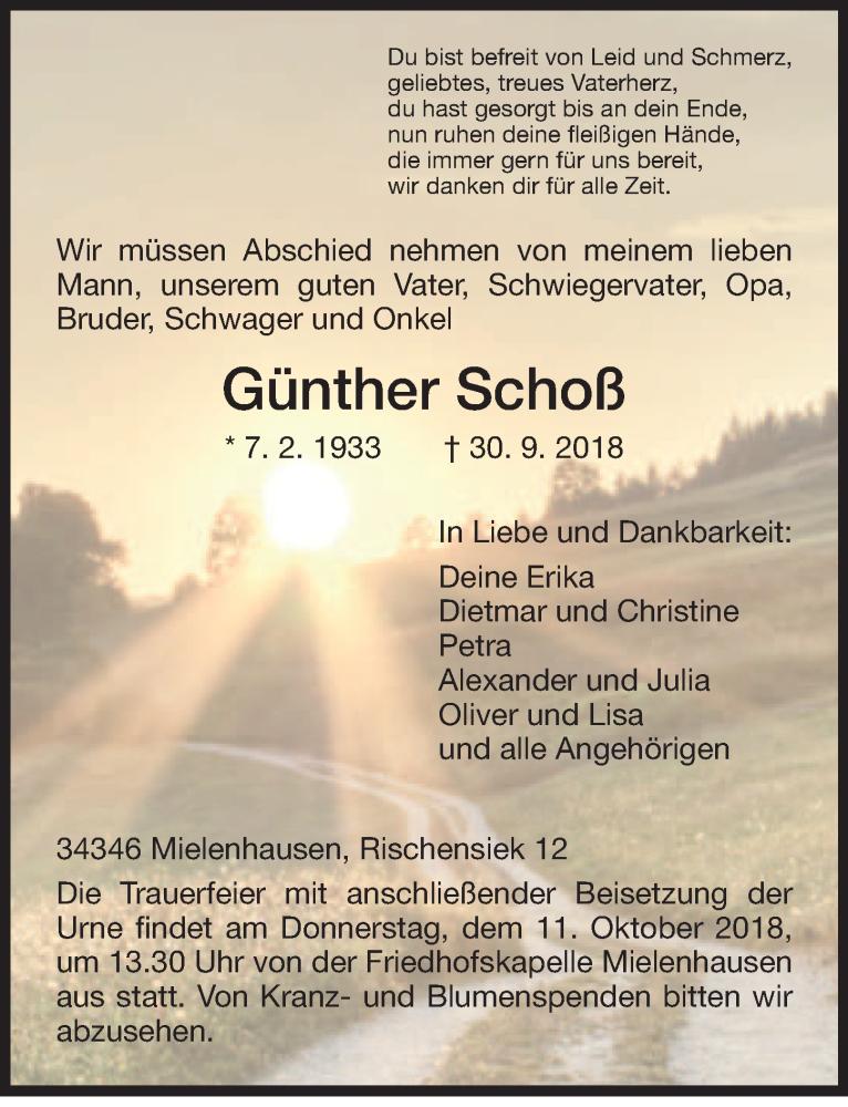 Traueranzeige von  Günther Schoß