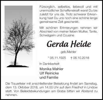 Traueranzeige für Gerda Heide vom 11.10.2018 aus Märkischen Allgemeine Zeitung