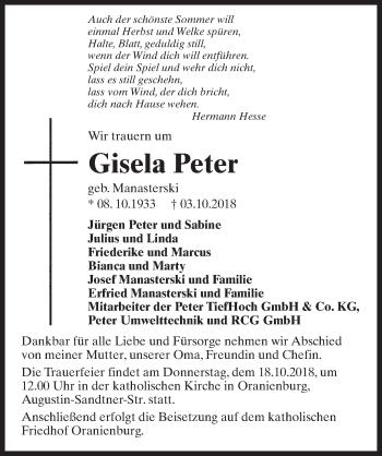Traueranzeige für Gisela Peter vom 06.10.2018 aus Märkischen Allgemeine Zeitung